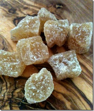 Candied ginger pieces