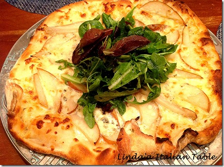 Pear and Gorgonzola Pizza with script