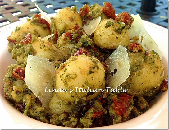 Pesto Potatoes finish with script