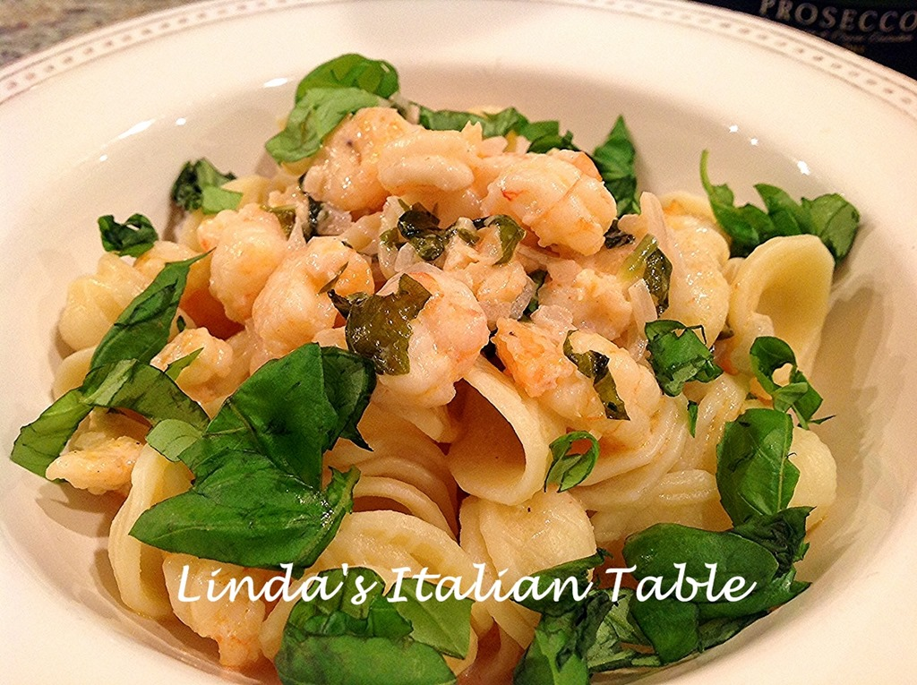 orecchiette with baby shrimp and prosecco sauce finish 3 with script - Italian Christmas Eve Menu
