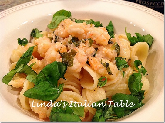 Orecchiette with Baby Shrimp and Prosecco Sauce finish 3 with script
