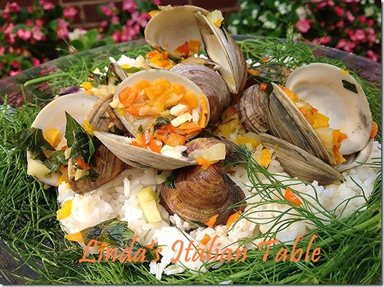 Amalfi Clams finish with script