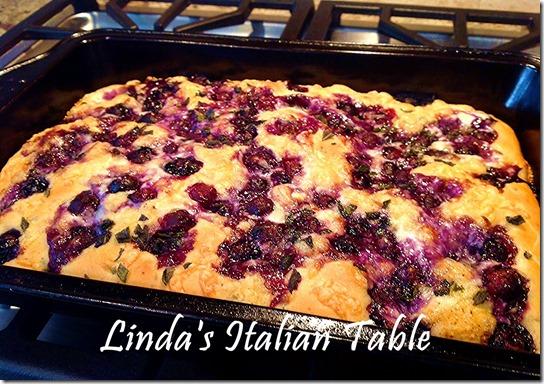 Focaccia Blueberry finish with script