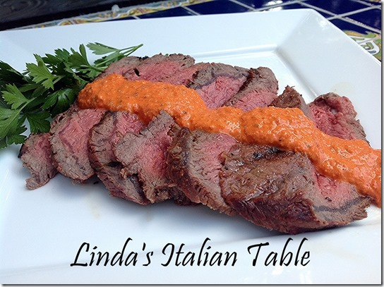 Steak with Red Pepper Sauce finish with script