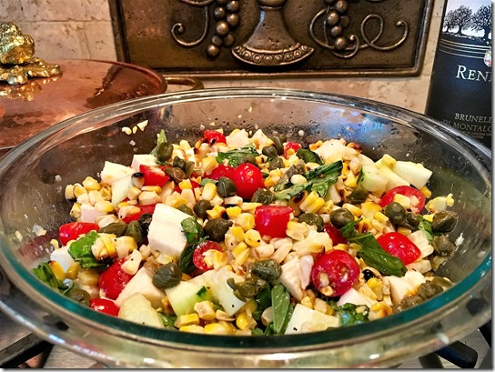 Grill Corn Salad Caprese Finish